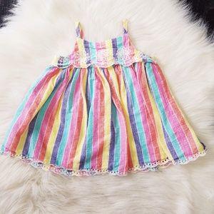 Baby GAP Multi- Colored Striped Dress w/ Eyelets